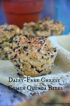 Cheesy Cumin Quinoa Bites {Gluten-Free, Dairy-Free} #glutenfree
