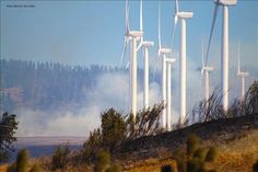 Shot of wind turbines facing the Taylor Bridge Wildfires. Thanks to our friend Alexander Gatlin.