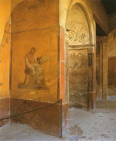 Wk 5 a) menander, detail of a style ural painting b) c) fresco d) exedra 23 house of the menander, pompeii e) greek AUTHOR learned man Ancient Roman Houses, Ancient Ruins, Ancient Artifacts, Ancient Rome, Pompeii Ruins, Pompeii Italy, Pompeii And Herculaneum, Fresco, Roman History