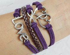 silver love infinite bracelets purple braided by edwinating, $6.99