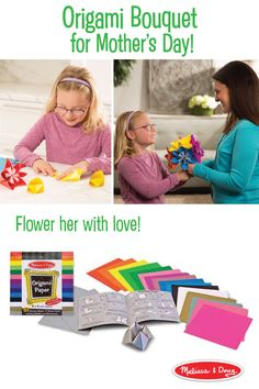 """A fold here, a fold there . . . soon you'll have flowers everywhere! All you need is Melissa & Doug Origami Paper (51 sheets of 6 x 6-inch square sheets in 17 vibrant colors) and a quick tutorial. We searched """"easy origami flower"""" to find a kid-friendly method for making the two types shown here. A perfect homemade gift for Mother's Day."""