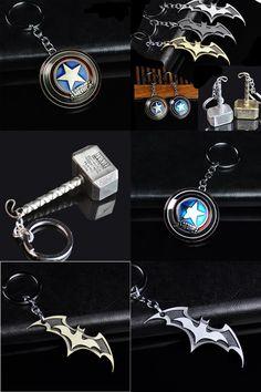 [Visit to Buy] HOT Creative Car Metal Keychain Batman Hub Bat Shield Key Ring Fit For Car BMW VW Audi Toyota Honda Ford Key Holder Accessories #Advertisement