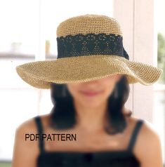 pdf download crochet  floppy hat pattern, wide big brim sun hat pattern