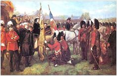 The 79th Regiment recieving their new Colours from Queen Victoria, at Parkhurst on the Isle of Wright, April 17th 1873
