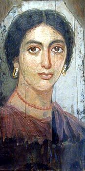 MARTHA AND MARY: BIBLE WOMEN: FAYUM PORTRAIT - Coffin portrait of a Middle Eastern woman, 1st century AD