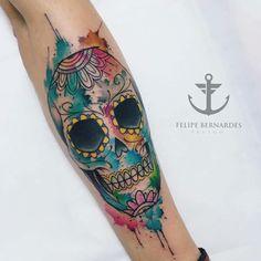 Watercolor tattoo skull