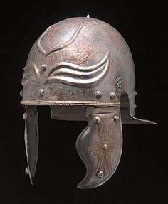 Highly tinned brass Weisenau-Guttmann type Roman helmet with decorated cheek pieces