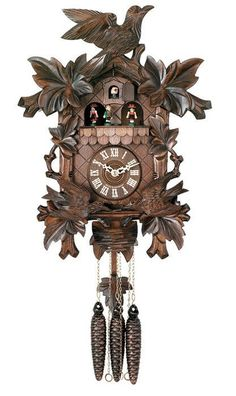 """One Day Hand-carved Musical Cuckoo Clock with Dancers and Animated Birds-16""""Tall"""