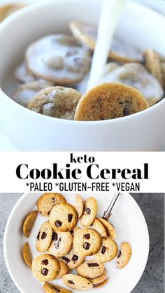 Keto Cookie Cereal is the latest mini cereal trend on TikTok and Instagram. If you like chocolate chip cookies and milk, you have to try this Cookie Crisp copycat cereal! Using this easy vegan chocolate chip cookie recipe, everyone can enjoy this healthy dessert for breakfast that is also paleo and can easily be keto-friendly! The cookie dough comes together in just one bowl with no chilling, no butter or eggs required! #cookiecereal #tiktokcereal #cookiecrisp #paleo #vegan #keto