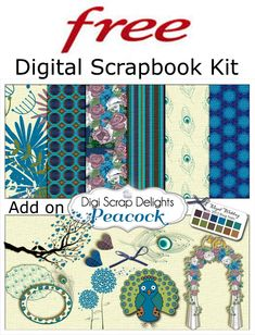 Free Digital Scrapbook Mini Kit Peacock Blue Green Purple
