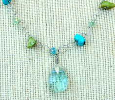 Handmade Wire Crochet Turquoise & Green by parkerssparkles on Etsy, $19.99