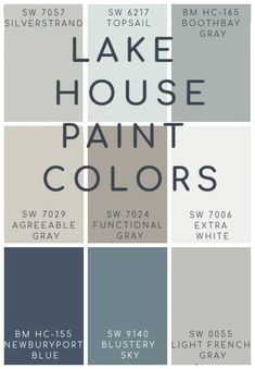 the best blues, grays, and neutral paint colors for a lake house Lake House Blue and Gray Paint Colors. Best soothing an neutral blue and gray paint colors for a lake home or coastal space. Grey Paint Colors, Interior Paint Colors, Paint Colors For Home, Farmhouse Paint Colors, Cabin Paint Colors, Best Bathroom Paint Colors, Coastal Paint Colors, Basement Paint Colors, Popular Paint Colors