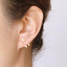 Star Moon And Sun Swing Earrings - earrings
