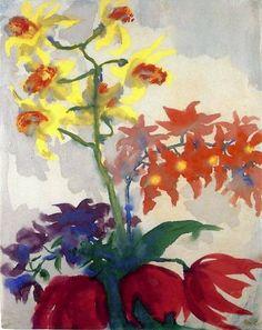 emil nolde, orchideen und drei tulpen