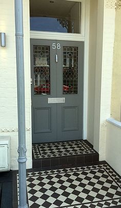 grey and white victorian mosaic tile path dulwich clapham battersea balham