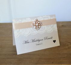 Lace Place Cards Diamond Brooch Place Cards by PaperLaceBoutique