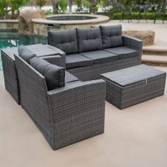BELLEZE 4 Piece Wicker Outdoor Sofa Set All Weather Dual Storage Ottoman Washable Cushions Sectional Seat Cushions Grey Outdoor Wicker Patio Furniture, Outdoor Sofa Sets, Patio Loveseat, Patio Furniture Sets, Fireplace Furniture, Furniture Logo, Furniture Decor, Circular Patio, Seat Cushions