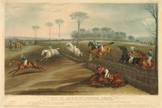 Jockeys race across a field, jumping over a fence; in the foreground on the right, one pair have stumbled, spectators in the distance on the left.  1836  Hand-coloured aquatint