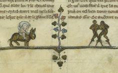 Monkey stilt walkers, from La quête du Saint-Graal, 1351. Bibliothèque de l'Arsenal