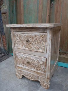 Balinese Hand Carved Timber Bedside Cupboard Lamp Table White Wash Finish Rustic