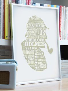 ELEMENTARY  A2 Sherlock Holmes Typographic Print in by typaprint, $45.00