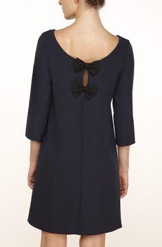 Robe droite fluide manches 3/4 ouverture dos avec noeuds bleu marine - robes femme - naf naf 2