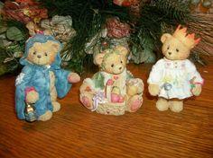 Cherished Teddies Christmas Bear Figurines Priscilla Hillman Enesco Collectible Resin Vintage Holiday Home Decor