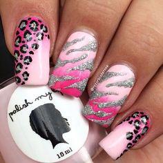 pink and black zebra nail designs . Zebra Nail Designs, Zebra Nail Art, Animal Nail Designs, Leopard Print Nails, Zebra Print, Hot Pink Nails, Fancy Nails, Gorgeous Nails, Pretty Nails