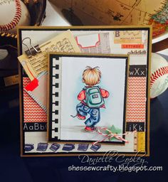 Back to School thank you card using To School by Mo Manning using Prima School Memories from Scrapbook Maven