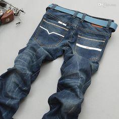 Classic Straight Leg Denim Jeans For Men Blue Disel Men Jeans – teeteecee - fashion in style Denim Jeans, Jeans Pants, Legs, Classic, Blue, Fashion, Flare Leg Jeans, Derby, Moda
