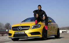 Usher makes a pit stop in Affalterbach to take the A 45 AMG for a drive.