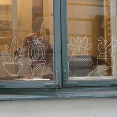 Chalk drawing of succulents and cacti window drawing of succulents and cacti Chalkboard Doodles, Chalkboard Art, Chalk Pens, Chalk Art, Home Wall Art, Home Art, Window Markers, Cactus Drawing, Board Decoration
