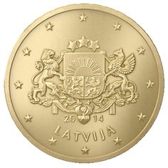 Latvian 10 euro cent coin, year 2014. Large Coat of Arms of The Republic of Latvia.