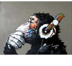 TOP quality Handpainted Gorilla modern abstract music oil painting wall painting canvas painting home decor oil on canvas art Simple Oil Painting, Oil Painting On Canvas, Diy Painting, Canvas Wall Art, Music Painting, Music Canvas, Painting Classes, China Painting, Tableau Pop Art
