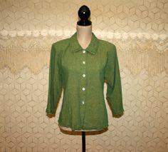 Green Shirt Linen Shirt Green Blouse Linen Blouse by MagpieandOtis