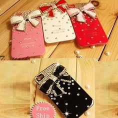 Crystal Bling Bow Bowknot Diamond Back Hard Case Cover For iphone4/4S 13 Colors,Card Wallet flower diamond shoulder bag case For SamSung i9300 N7100 Iphone 5