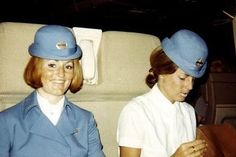 Pan Am stewardesses on the jump seat of a B747...