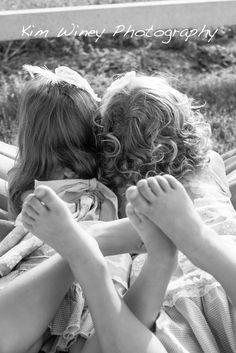 sisters, love, bare feet, Kim Winey Photography