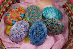 Painted Egg Inspired Pieces -- but these are not painted but created from my own polymer clay canes.