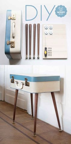 Stick legs on a suitcase for a vintage side table.