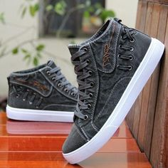 British Style Fashion Vintage Denim Jean Canvas Shoes Men High-top Casual Man Ankle Boots Flat Shoes Usual School Boy Footwear Casual Shoes From Touchy Style Outfit Accessories. Dress With Sneakers, Casual Sneakers, Sneakers Fashion, Casual Shoes, High Top Sneakers, Dress Shoes, Casual Man, Men's Sneakers, Casual Chic