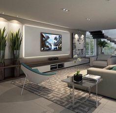 idée aménagement salon, grand appartement en couleur beige et gris clair avec escalier flottant