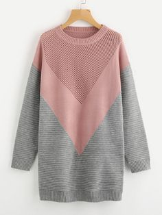 To find out about the Eyelet Panel Color Block Chevron Jumper at SHEIN, part of our latest Sweaters ready to shop online today! Knitwear Fashion, Knit Fashion, Fashion Outfits, Fashion Styles, Color Block Sweater, Winter Sweaters, Ladies Dress Design, Pulls, Long Sleeve Sweater