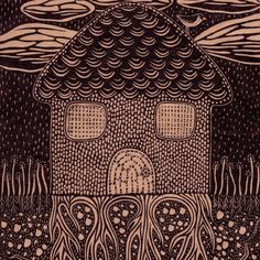 Rooted  Linocut Relief Print  house / home / roots / by sprouthead, $20.00