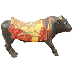 extremely rare carolcil animals | Rare Spanish Fighting Bull from an early European Carousel from relic ...