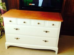 Beautiful Shabby Chic Stag Minstrel Chest Of Drawers/sideboard