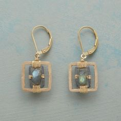 "INGENUITY EARRINGS -- Faceted labradorite is wired to oxidized sterling silver frames within 14kt gold fill squares. Handcrafted in USA. Dana Kellin. Lever backs. 1-1/4""L."