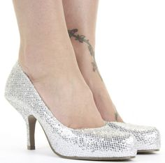 silver low heel pumps | pointed toe silver black gold glitter