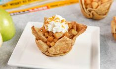 These Apple Pie Tortilla Cups are a deliciously easy dessert you can make in 15 minutes using TortillaLand® uncooked flour tortillas.