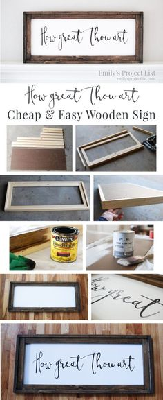 Cheap and Easy DIY Farmhouse Wood Signs - A Step-by-Step DIY Tutorial! Want to learn how to make easy DIY farmhouse wood signs? Get my tutorial and learn the cheapest and easiest way to make farmhouse signs without stencils! Diy Craft Projects, Diy Pallet Projects, Craft Ideas, Diy Wood Crafts, Easy Wooden Projects, Simple Wood Projects, Pallet Ideas, Wood Projects To Sell, Wood Board Crafts